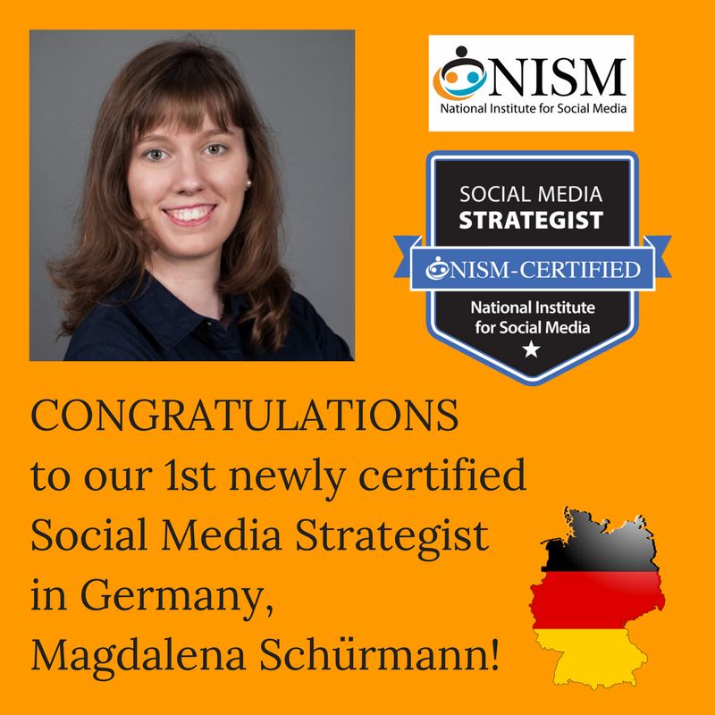 Congratulations Magdalena Schürmann, for your accomplishment in becoming our 1st NISM certified Social Media Strategist in Germany!