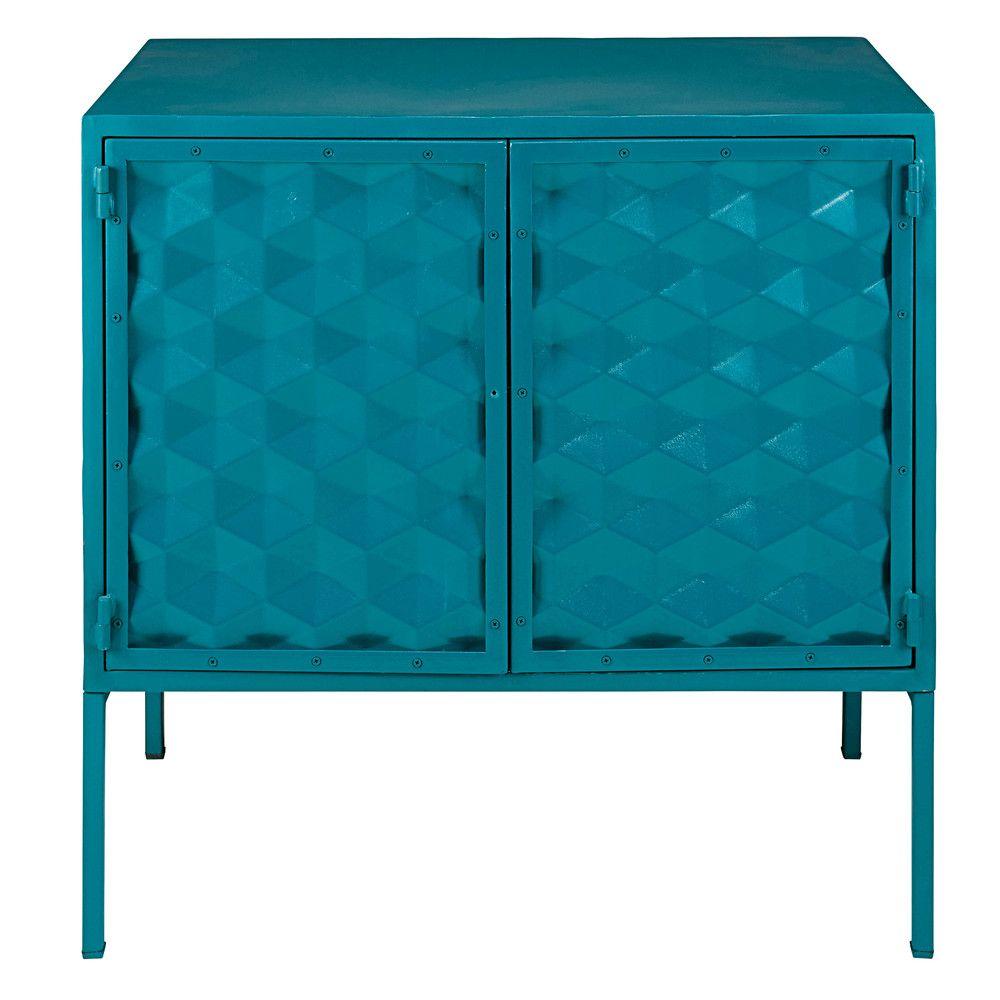 Buffet 2 Portes En Metal Bleu Canard Mineapolis Maisons Du Monde Mobilier De Salon Hall D Entree Bleu Bleu Canard