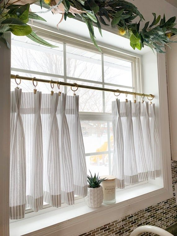 Pleated ticking striped Cafe Curtains , Tier Curtains, Kitchen Curtains, Bathroom Curtains , Window Treatments, Farmhouse