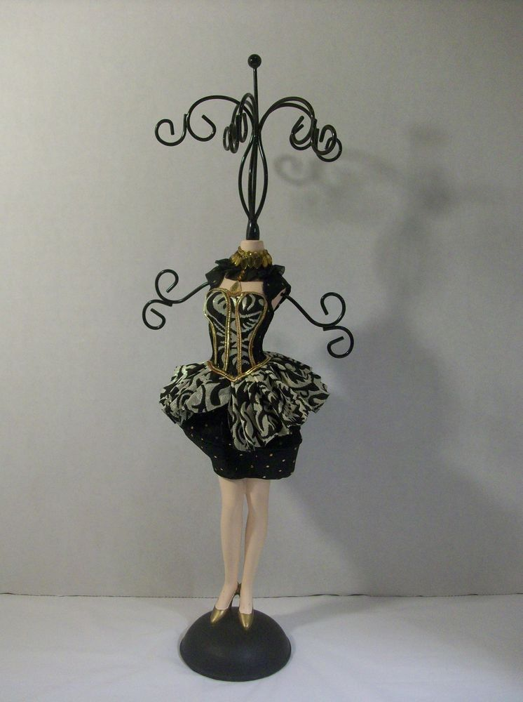 Necklace Jewelry Holder Stand Organizer Mannequin Dress Display Rack Black Gold Unbranded