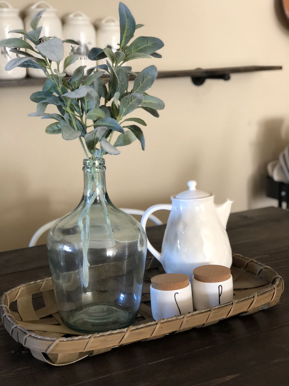 Farmhouse Table Decor. Ceramic Teapot. Salt/Pepper Cellars. images