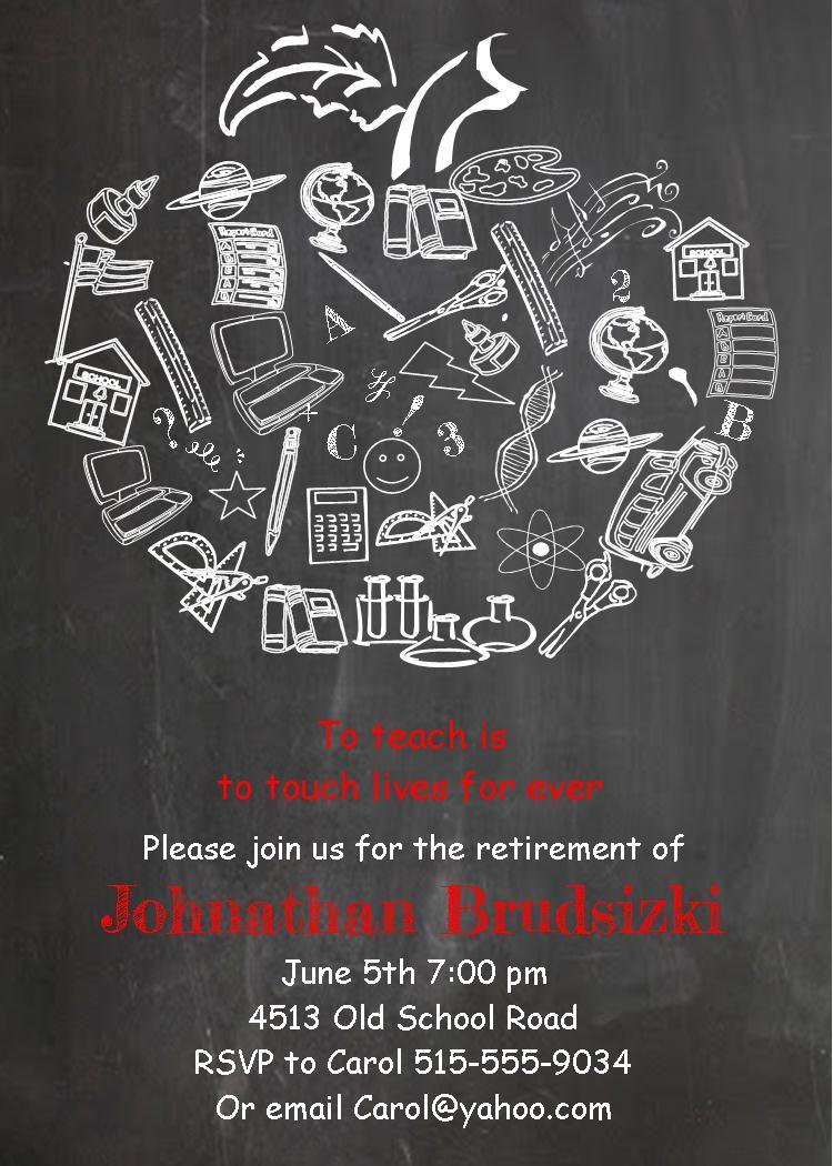 Teacher Retirement party invitations- custom made apple chalkboard ...
