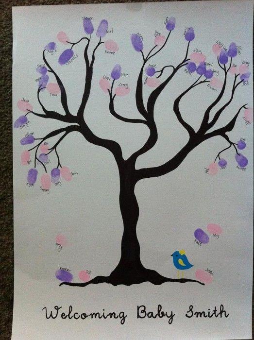 Baby Shower Fingerprint Tree  Hand Drawn   By Owl+pussycat On Madeit