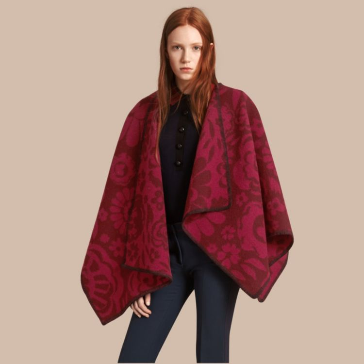 Floral Jacquard Wool Cashmere Poncho