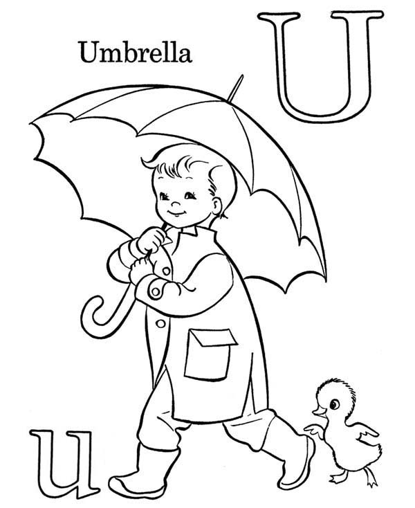 U For Umbrella On Learning Abc Coloring Page Coloring Sky Abc Coloring Pages Umbrella Coloring Page Abc Coloring