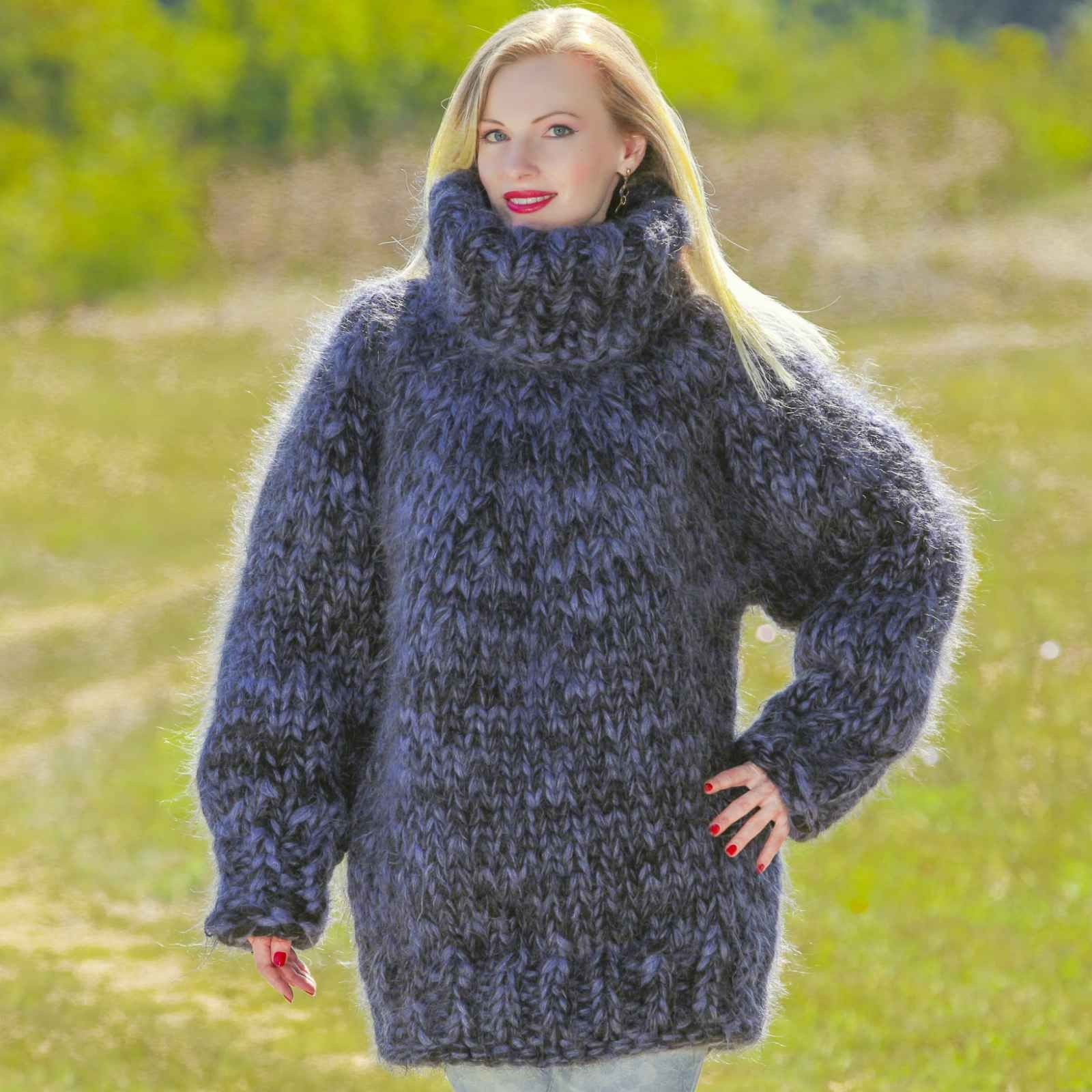 Mega thick mohair sweater with 20 strands black and blue mohair ...