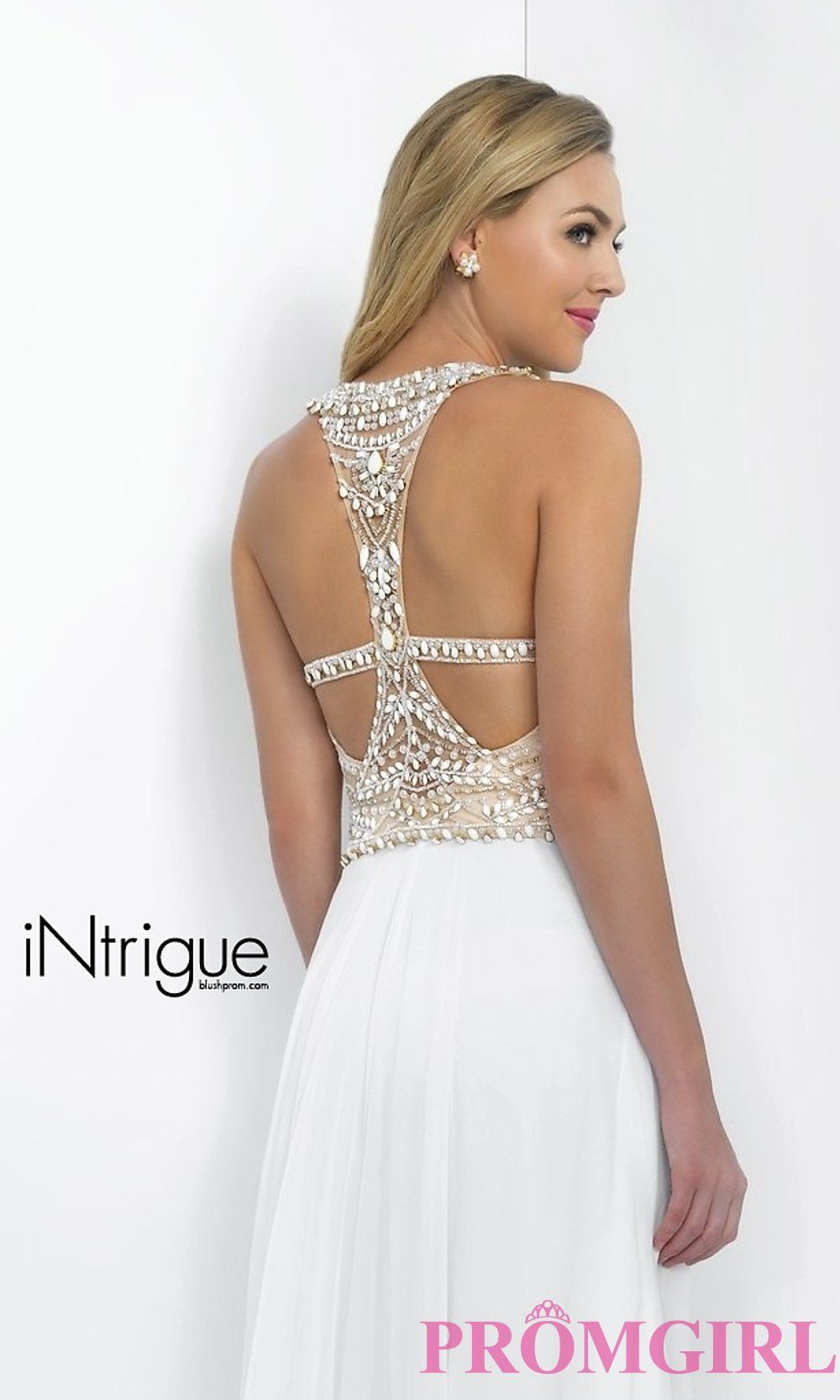 Image of long sleeveless high neck beaded white dress detail image