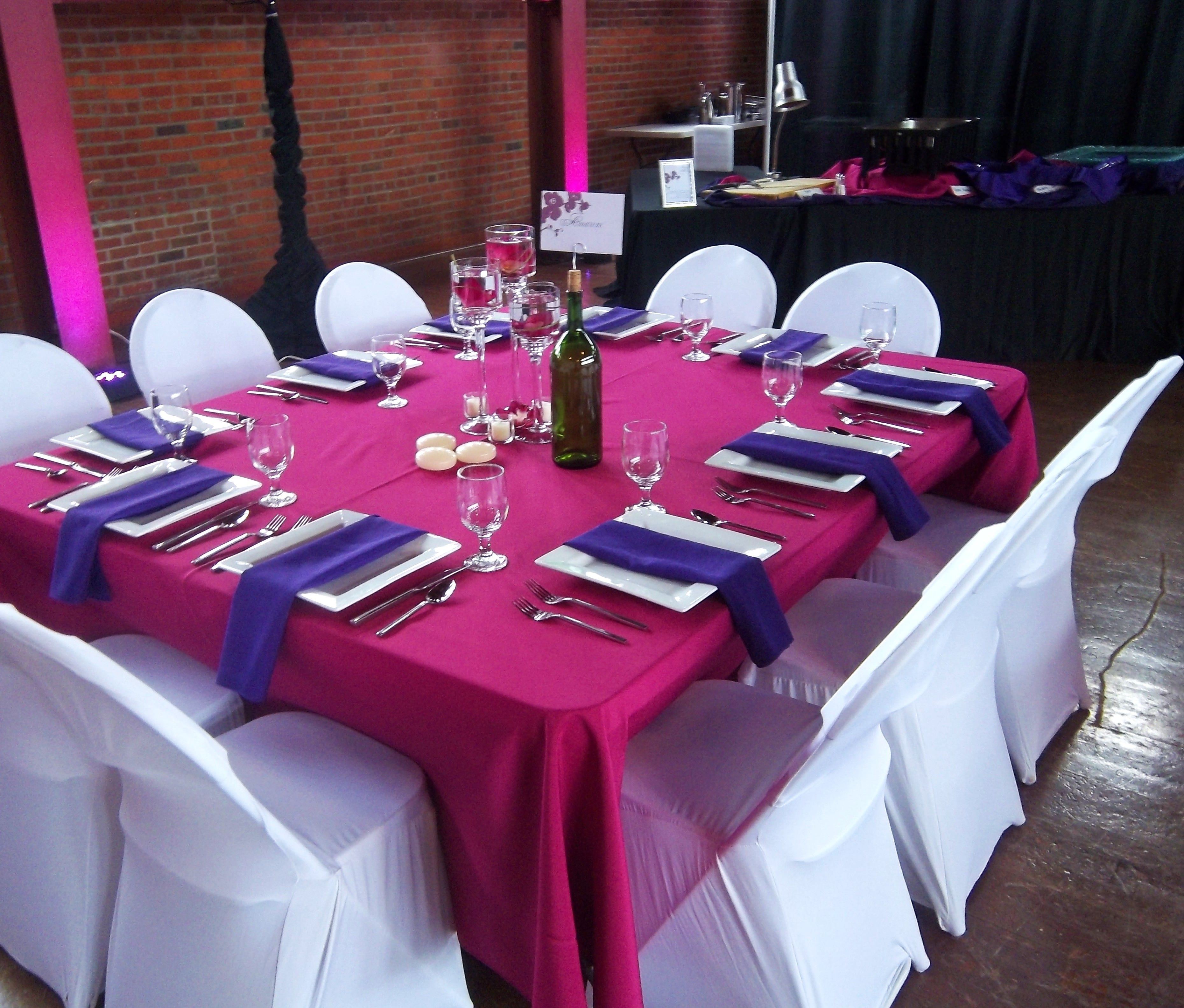 long table setup wedding reception%0A Fuchsia  u     purple reception decor with wine bottle centerpiece and spandex  chair covers http      Formal Table SettingsTable Setting WeddingOutdoor  Wedding