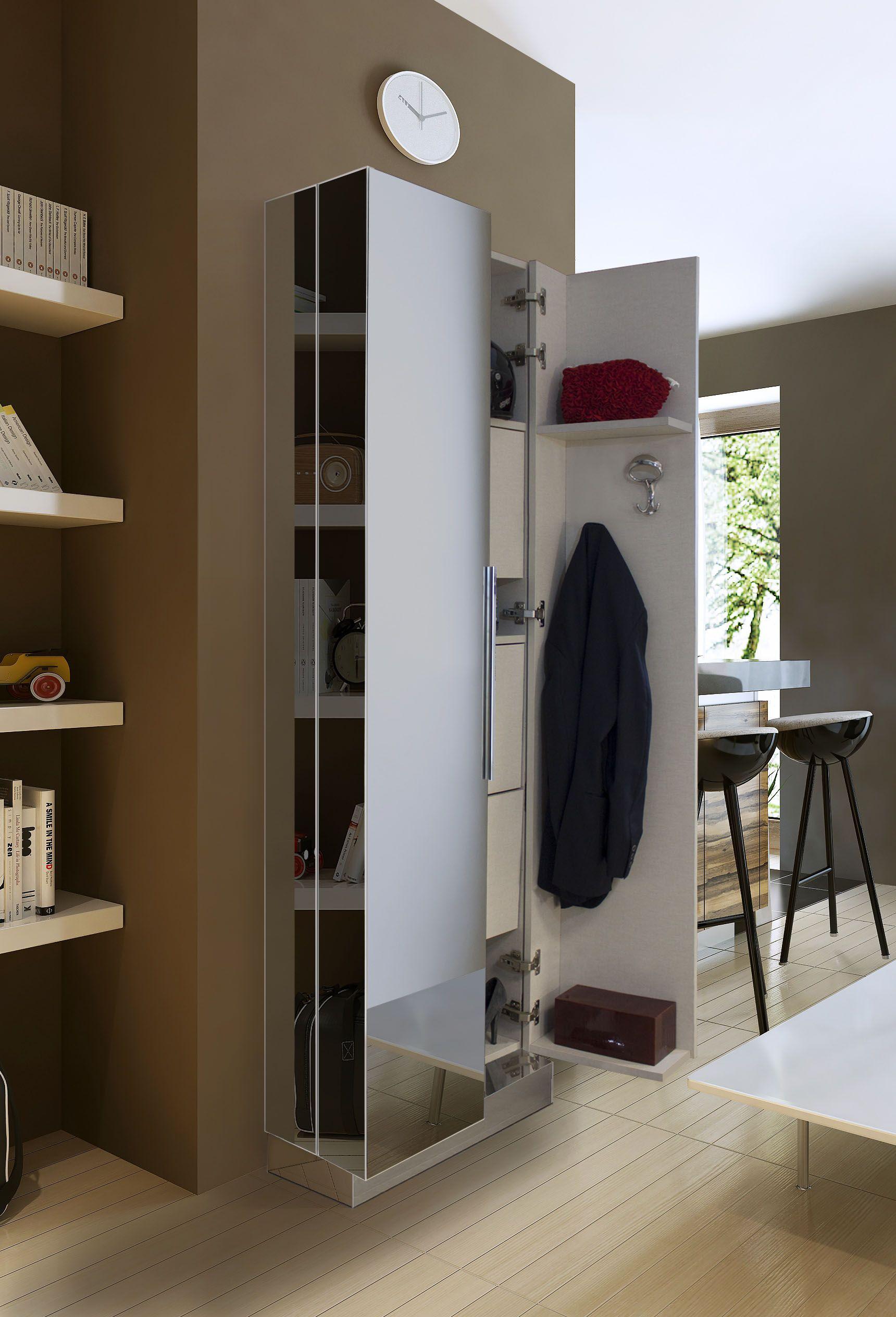 Armadio a specchio sui tre lati disponibile con scarpiera e appendiabiti piccoli guardaroba - Armadio specchio ikea ...