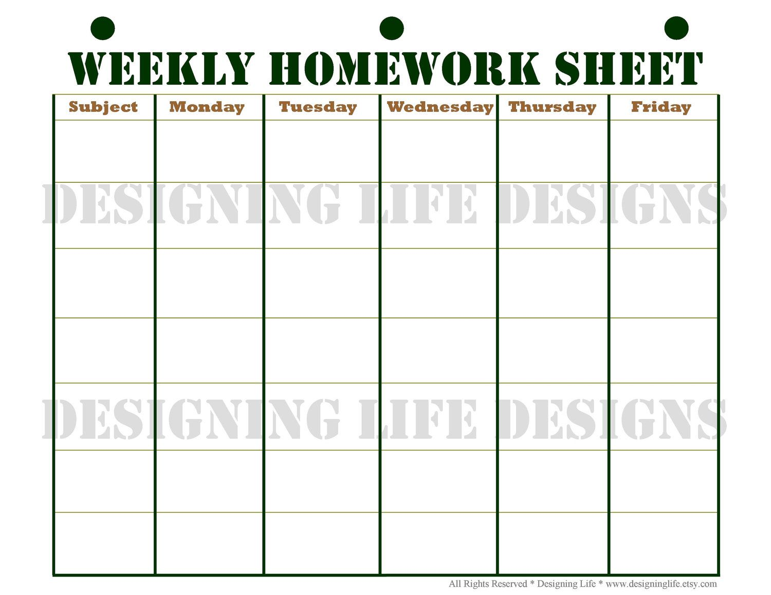 Homework Planner And Weekly Homework Sheet  Student Planner Pdf