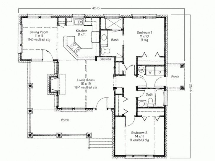 Simple two bedrooms house plans for small home for Large home plans with pictures