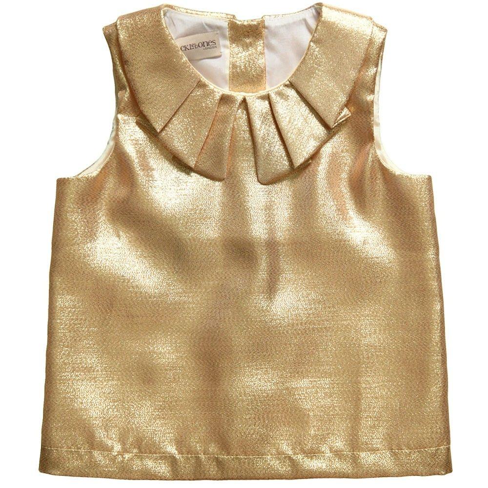 Girls Metallic Sleeveless Gold Blouse - Girl