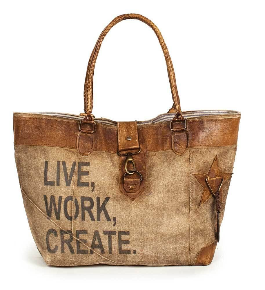 Live Work Create Canvas Leather Tote Bag Primitive Ping Market Sack