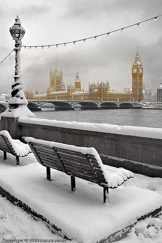 Snow covered London, UK