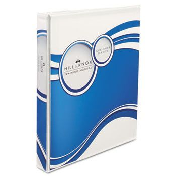 "Designer View Binder W/slant Rings, 2"" Cap, White/blue Circle"