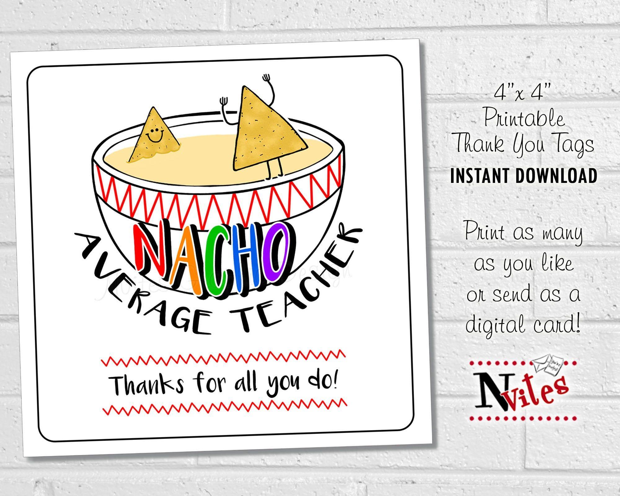 Teacher Appreciaton Tags Nacho Average Teacher Teacher