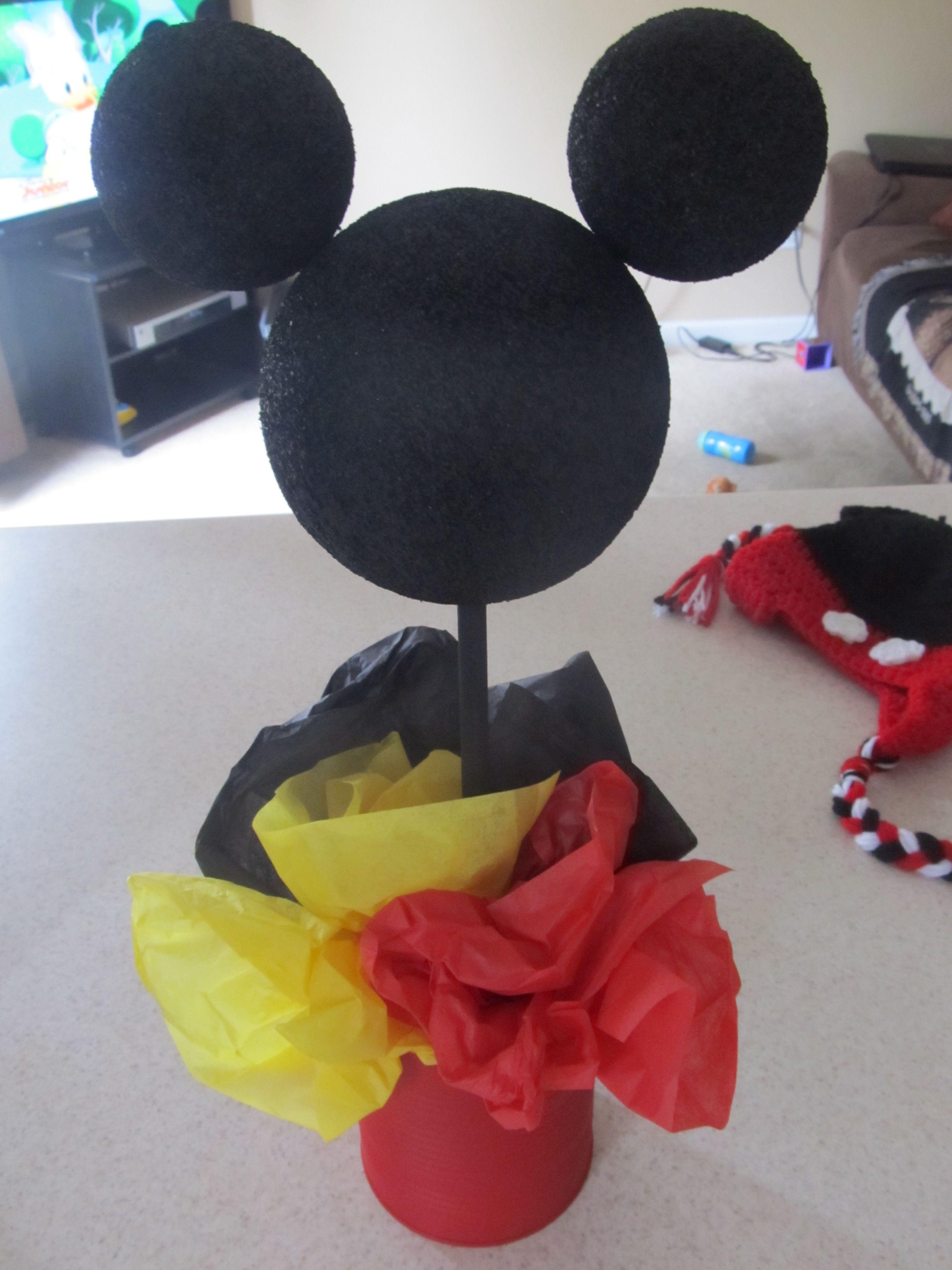 diy Mickey Mouse birthday party #diy #centerpiece #idea | First ...
