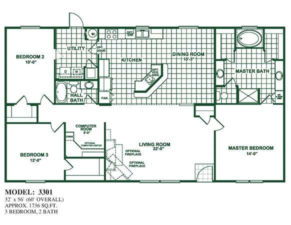 Model 3301 Oak Creek Homes House Floor Plans Pole Barn Homes