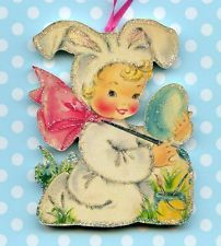 Happy Easter Glitter Ornament Decoration Boy Bunny Outfit Egg Vtg Card Img