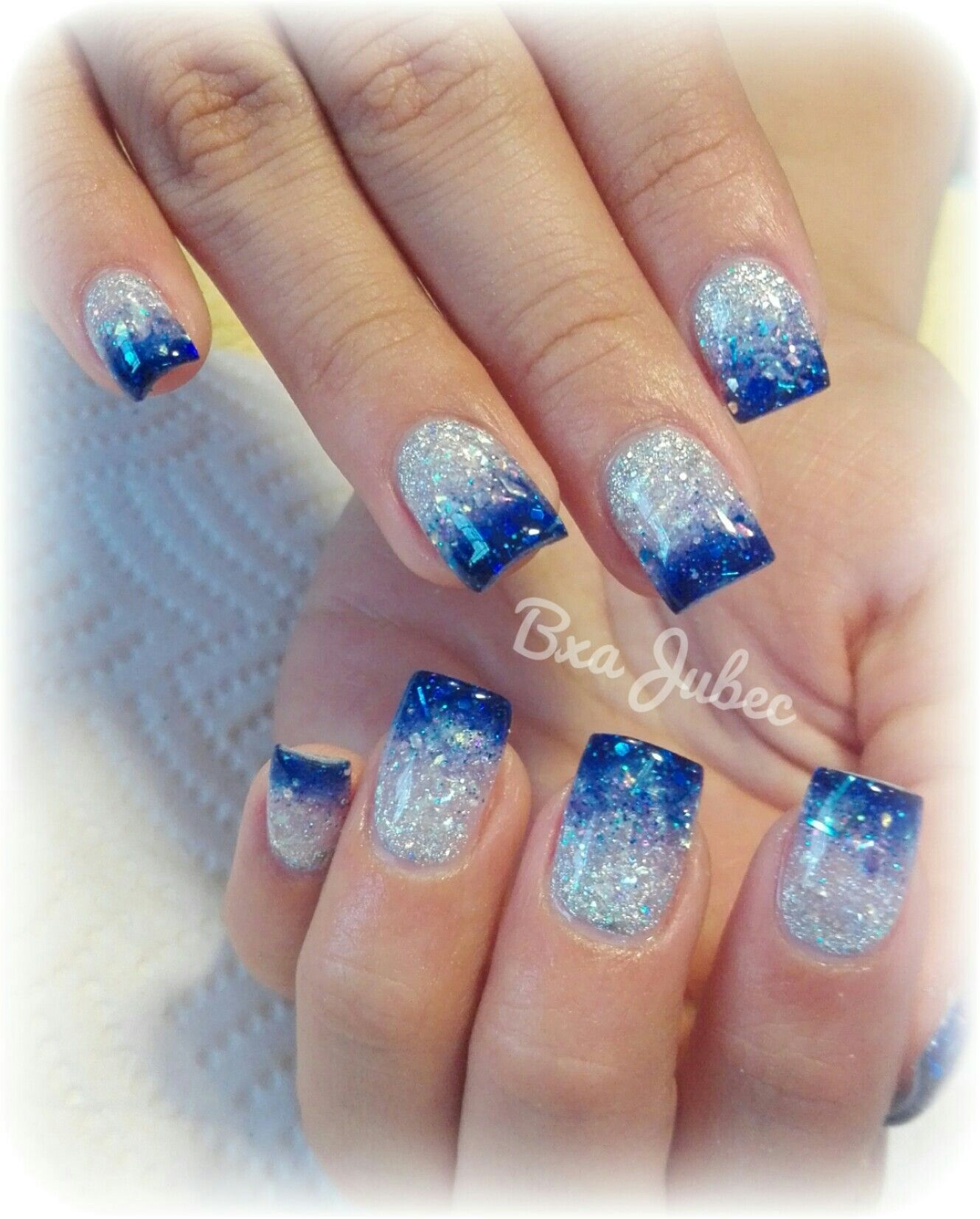 Unas Azul Con Plata Maqullajes En 2019 Nails Fun Nails Y Winter