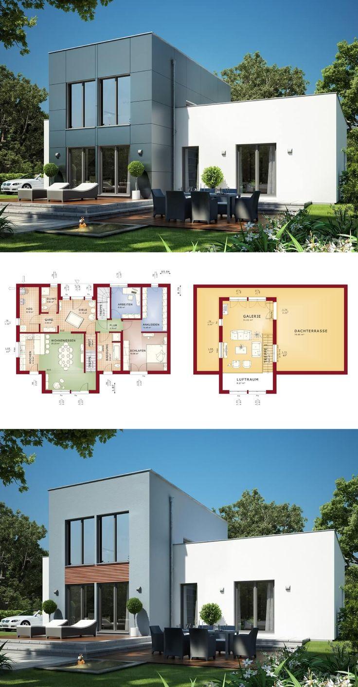 bungalow haus mit galerie und flachdach architektur im bauhausstil grundriss einfamilienhaus evolution 111 v5 bien zenker fertighaus bauen