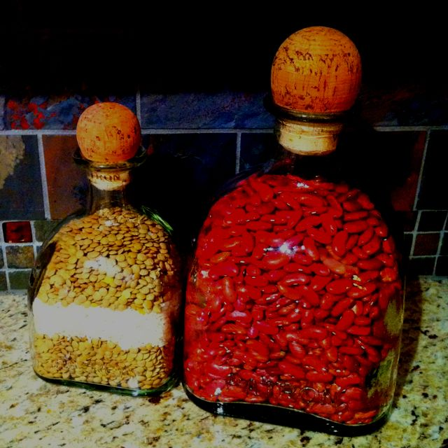 Store beans in patron bottles for a splash of color in your kitchen