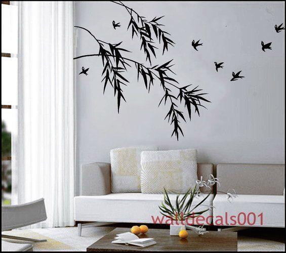 vinyl wall decal wall sticker bamboo birds decals - oriental bamboo