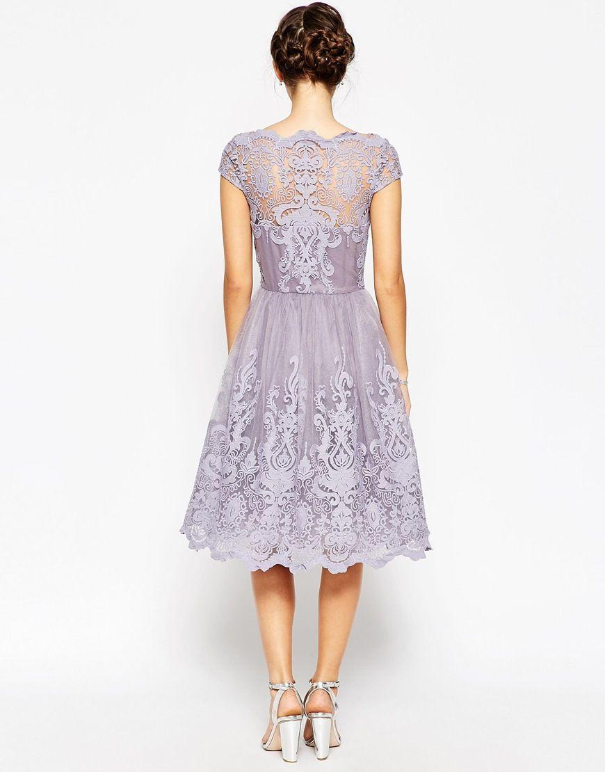 d8116340038b Image 2 of Chi Chi London Premium Lace Midi Prom Dress with Bardot Neck