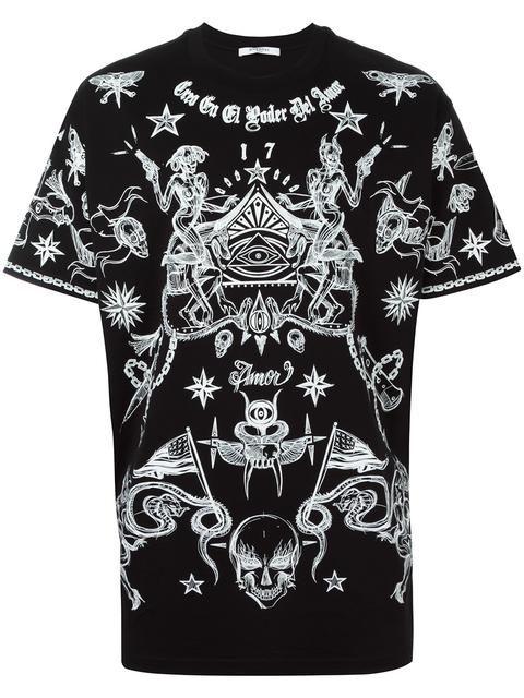 Shirtgivenchyclotht Shirt T Tattoo Print Givenchy jqc43ARL5