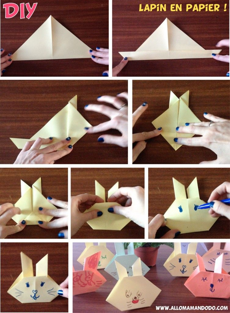 diy lapin en papier vid o origami facile origami origami facile et p ques. Black Bedroom Furniture Sets. Home Design Ideas