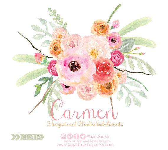 Watercolor Clipart Floral PNG Wedding Bouquet By LagartixaShop
