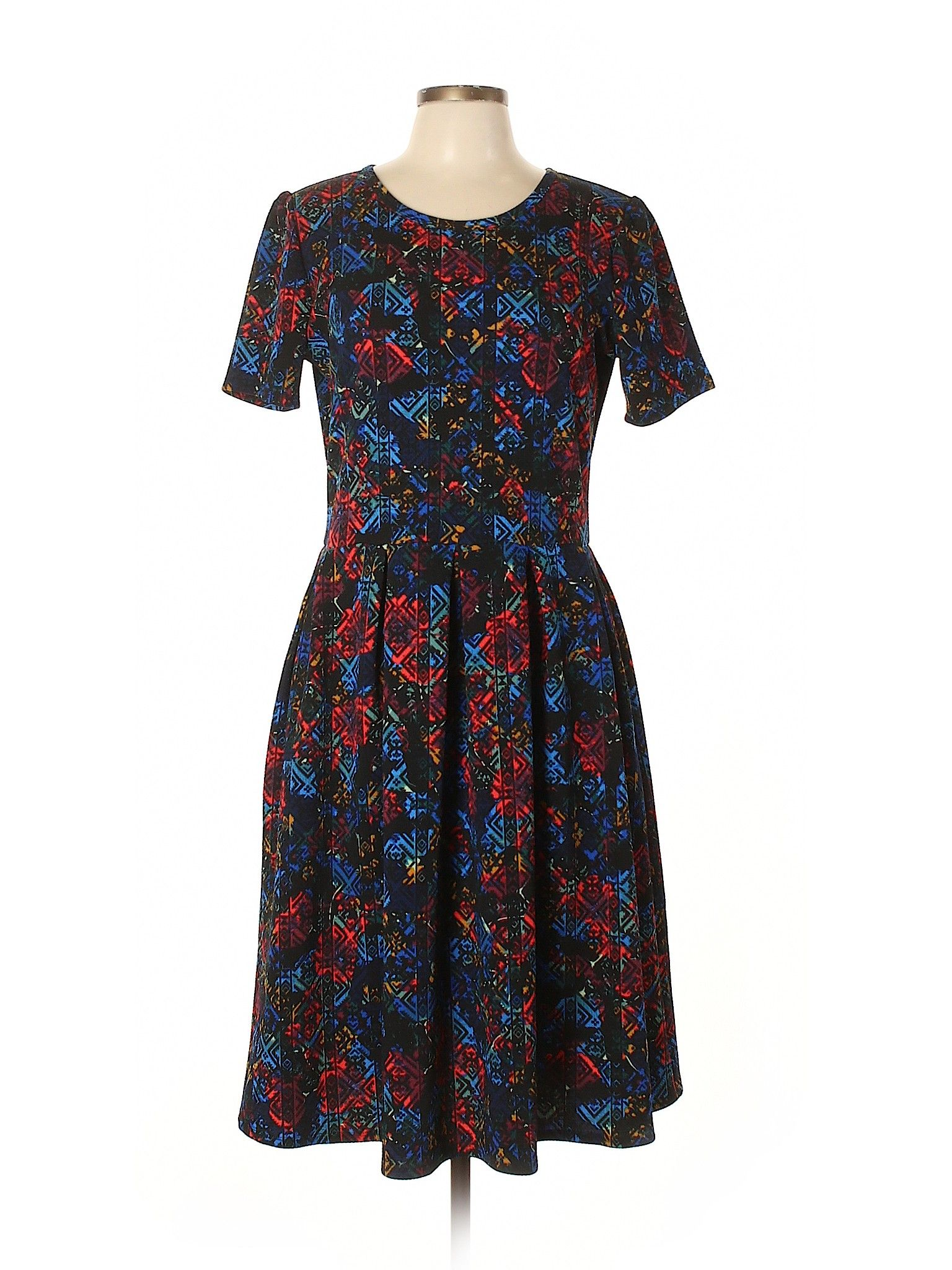 Lularoe Casual Dress Fit Flare Black Floral Dresses Used Size X Large Clothes Floral Dress Black Casual Dress