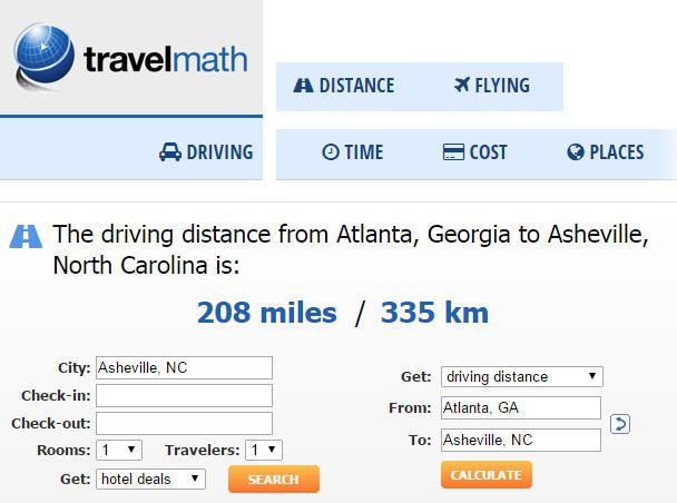 North Carolina Travel Maths Calculator Driving From Atlanta - Distance to atlanta georgia