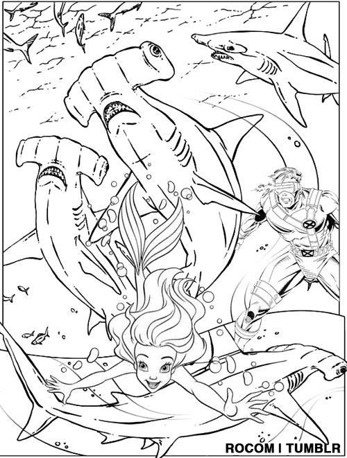 cyclops saves ariel from killer hammerhead sharks coloring page