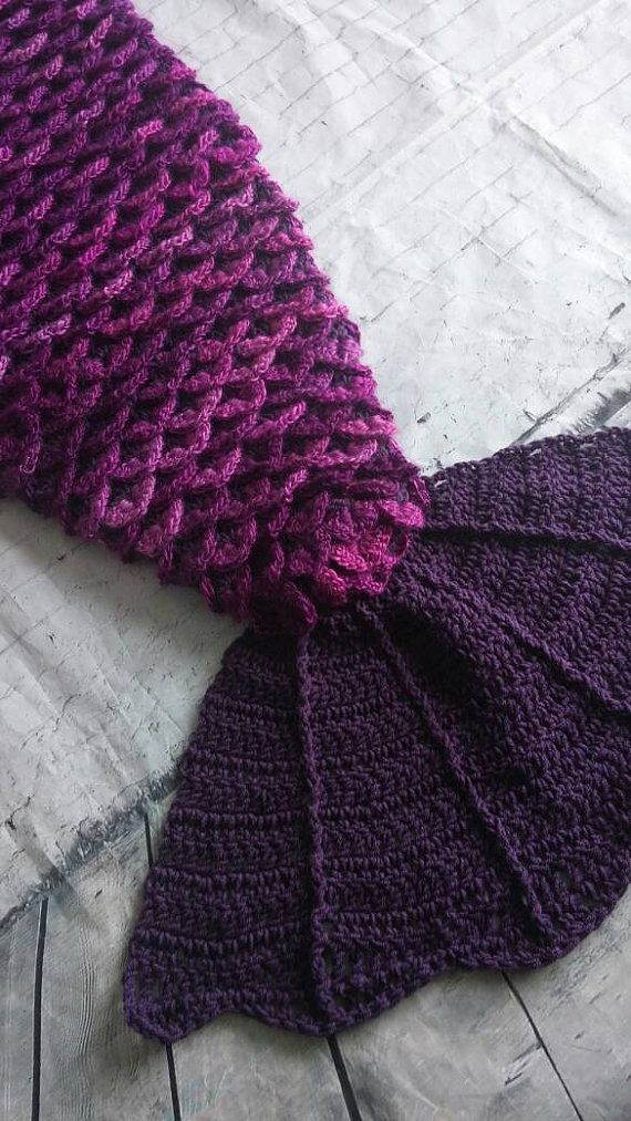 Mermaid tail blanket with fin in crochet by LittlePatchesCrafts ...