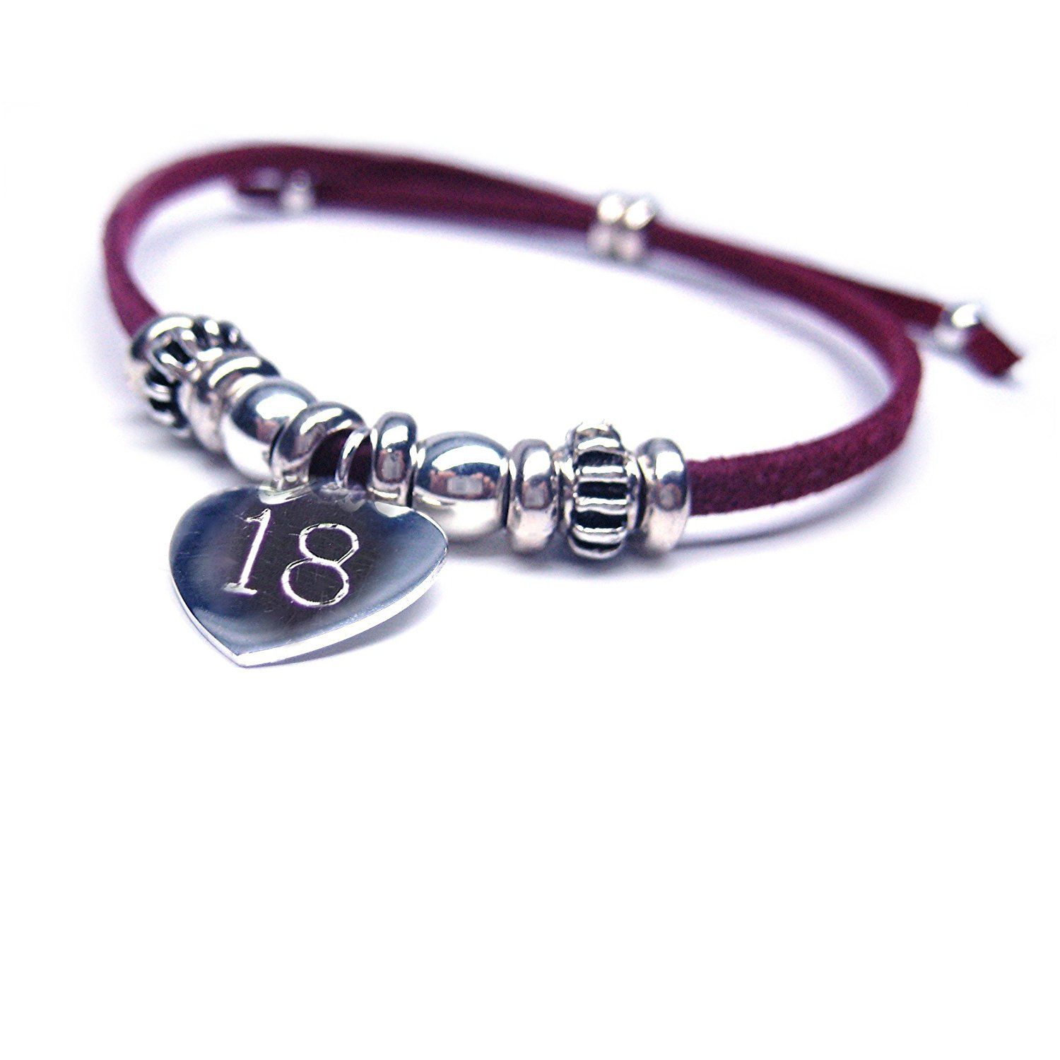 India 18th Birthday Engraved Bracelet Red Gift Present Girl