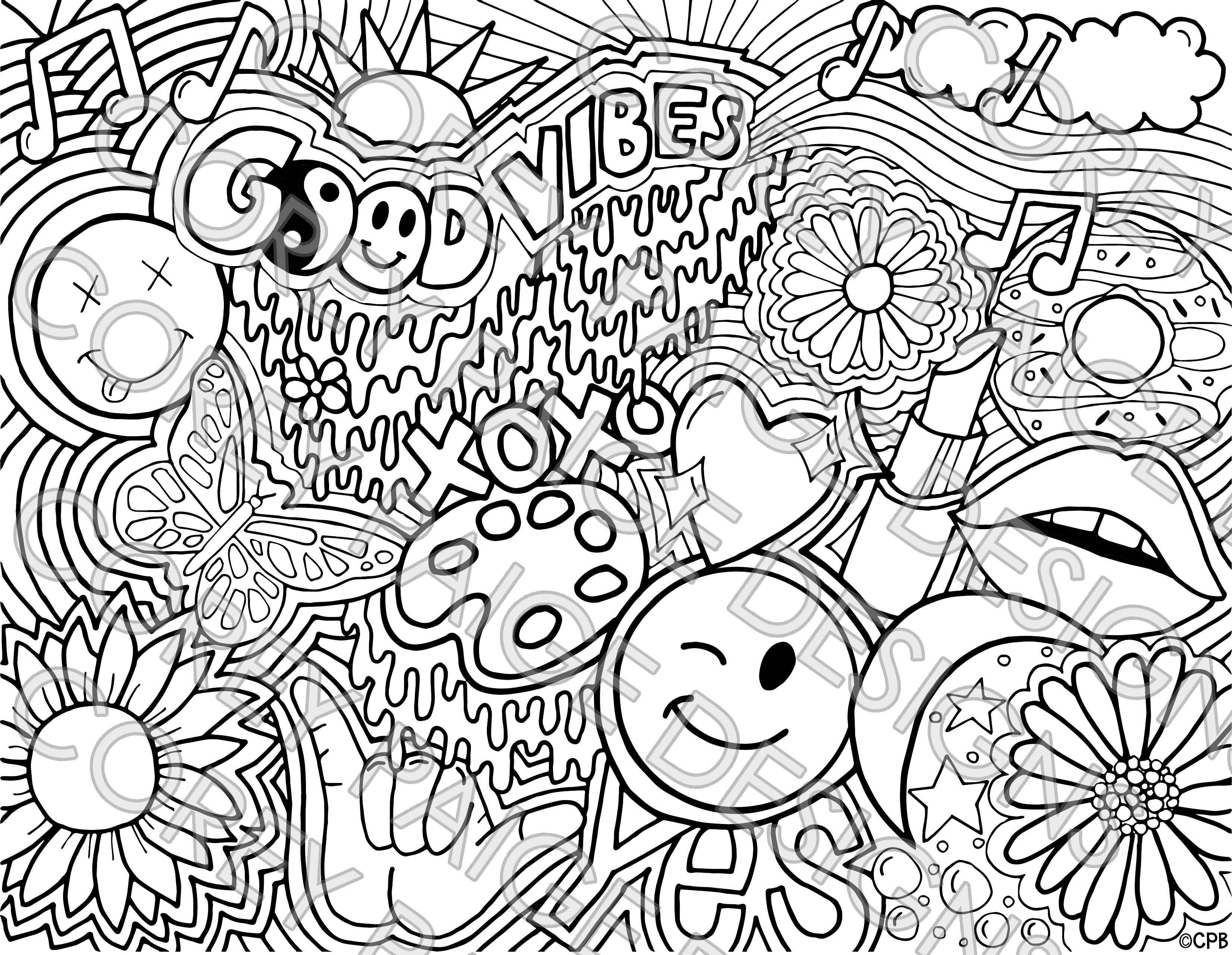 Good Vibes Coloring Sheet Pack Cool Coloring Pages Love Coloring Pages Tumblr Coloring Pages [ 2559 x 3302 Pixel ]