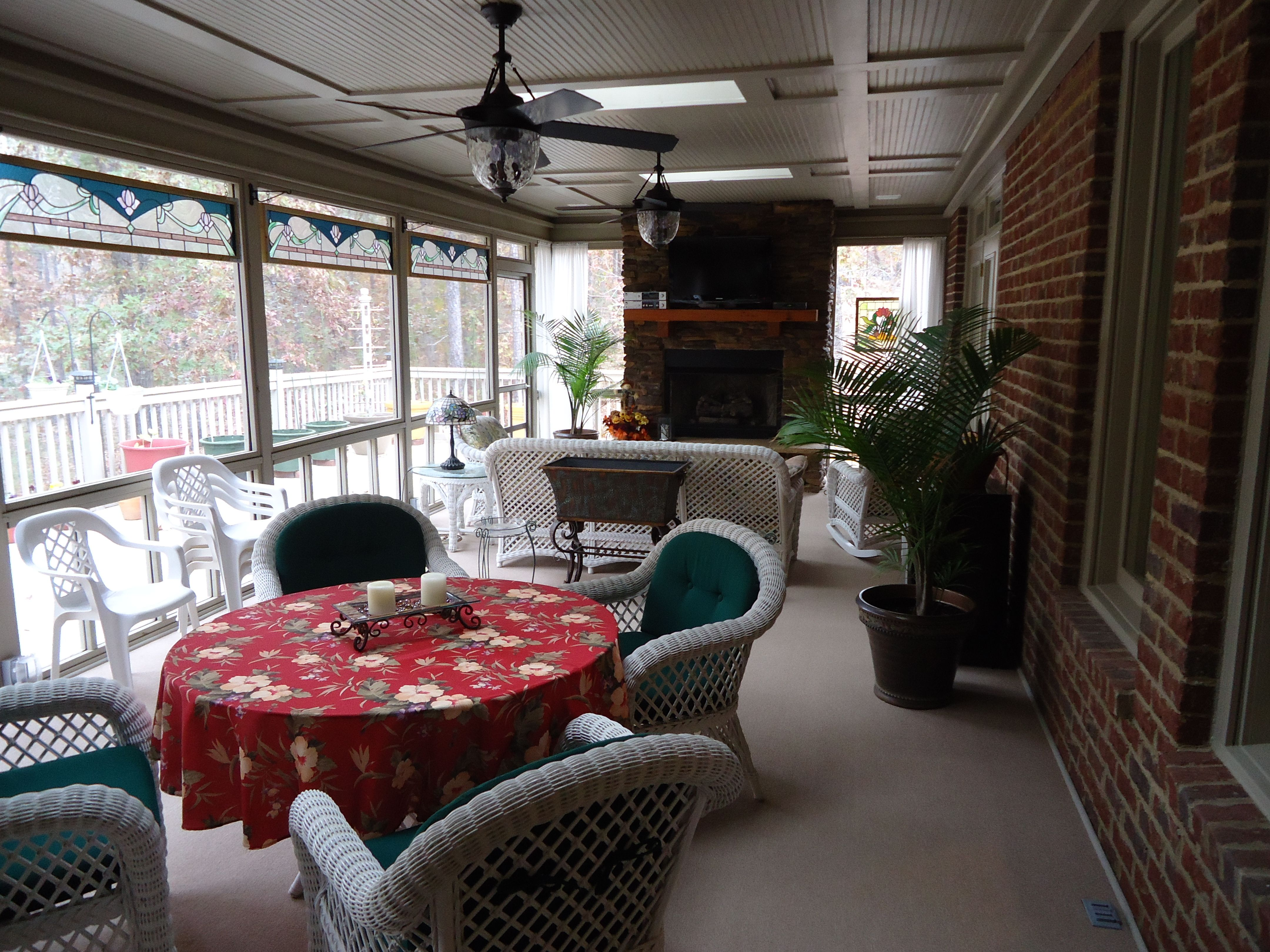 our amazing 35 screened porch stained glass panels on each