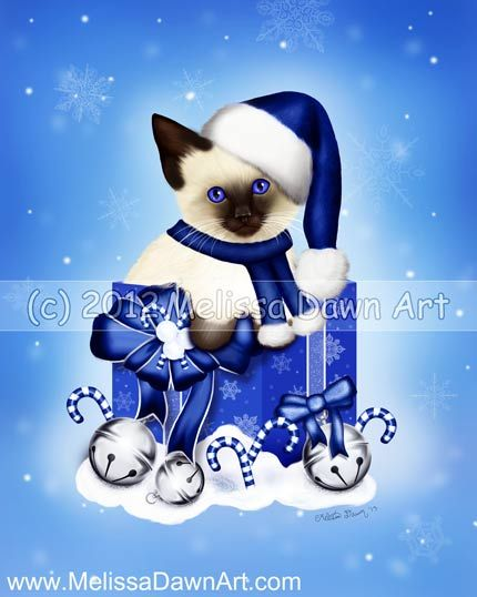 Blue Winter silver bells christmas cat fine art print