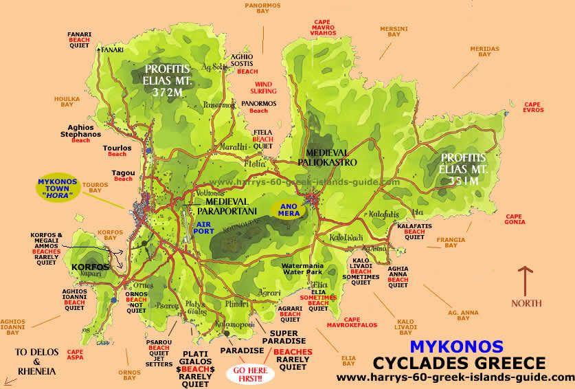 Resultado de imagem para mykonos beaches map