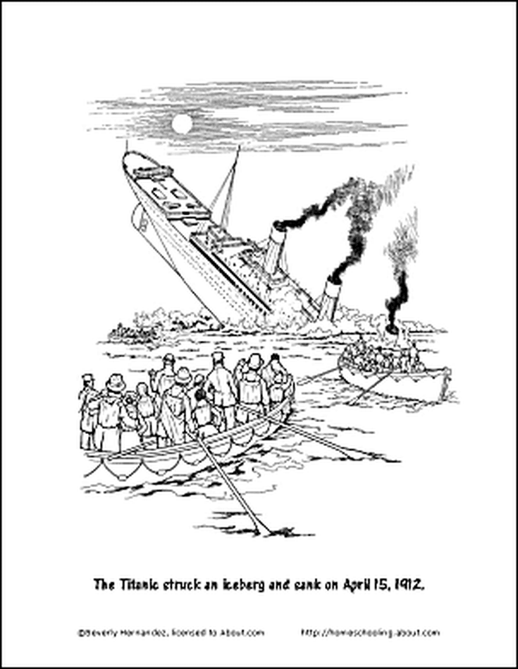 free printable titanic worksheets and coloring pages titanic coloring page