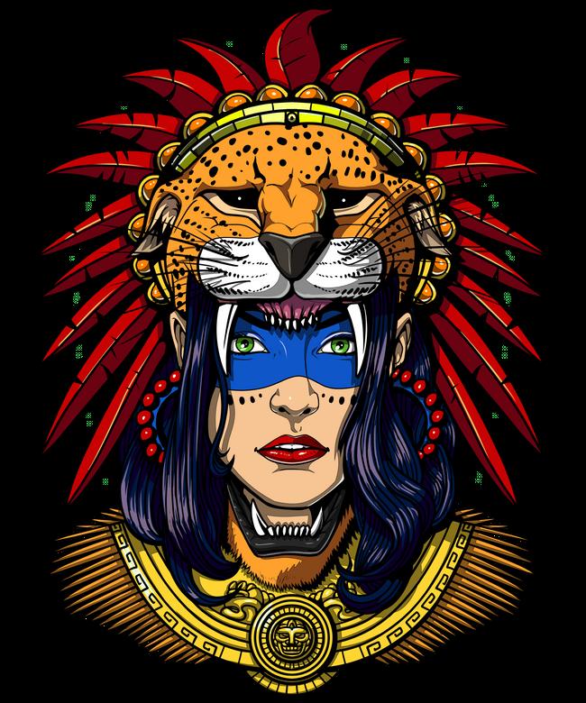 Aztec Jaguar Warrior Native Mexican Headdress Art Print By Moon Ape X Small Headdress Art Art Aztec Warrior