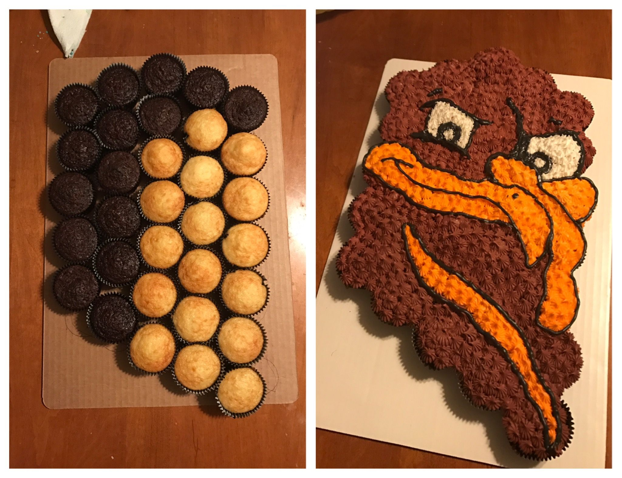 Virginia Tech Hokies Bird Head Cupcake Cake