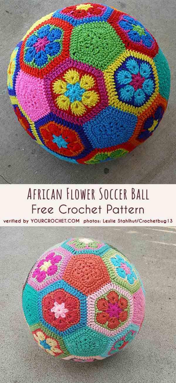 African Flower Soccer Ball Free Crochet Pattern | toys | Pinterest ...