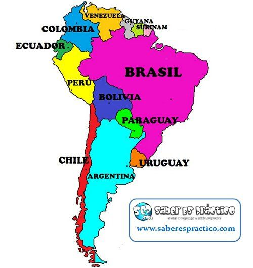 Banderas De Los Países De América Del Sur Saber Es Práctico America Map Preschool Learning Activities Teaching Spanish