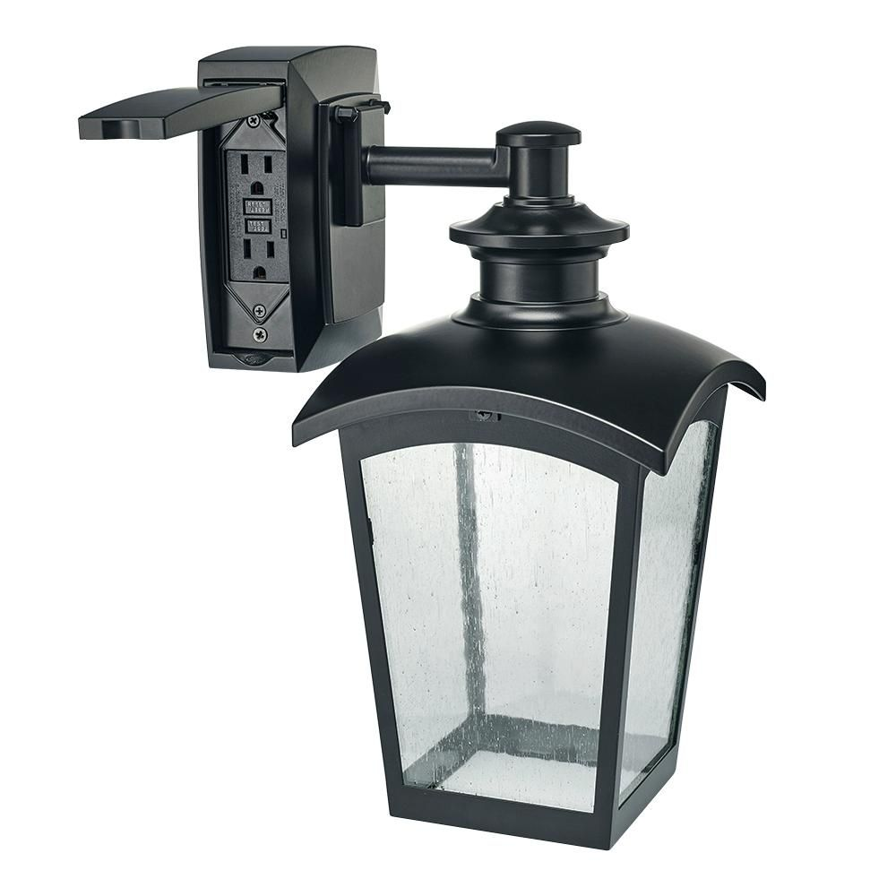 Hampton Bay Die Cast Exterior Lantern Sconce With Gfci Black Md