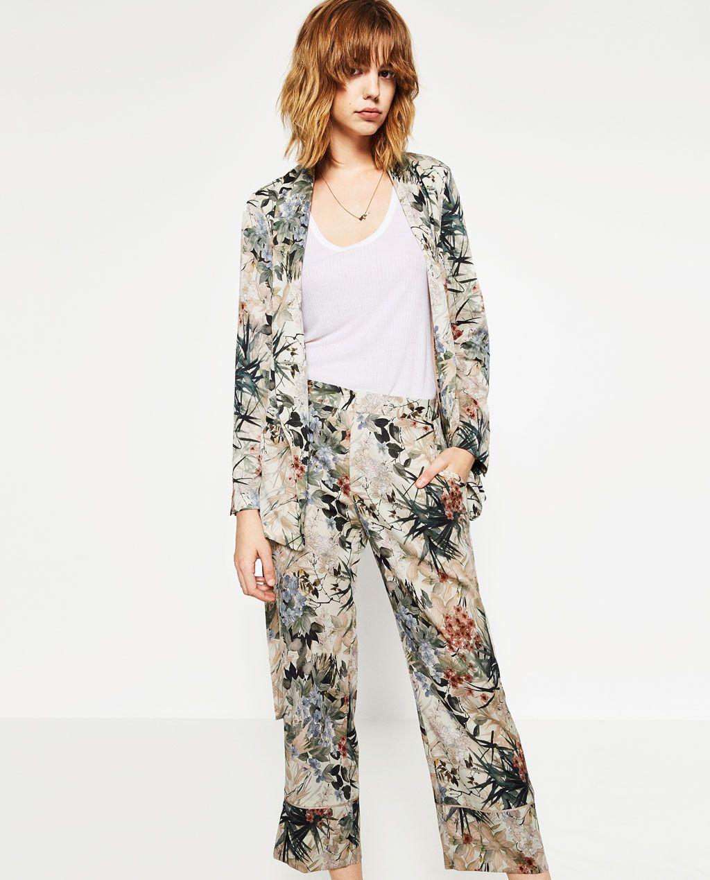 Zdjecie 4 Spodnie W Stylu Pizamowym Z Nadrukiem W Kwiaty Z Zara Printed Trousers Style Floral Prints