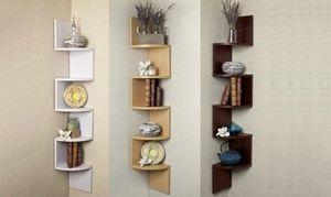 Five Tier Zig Zag Floating Wall Corner Shelf Unit For Aed 129 Wall Shelves Wall Shelf Unit Corner Shelves Living Room