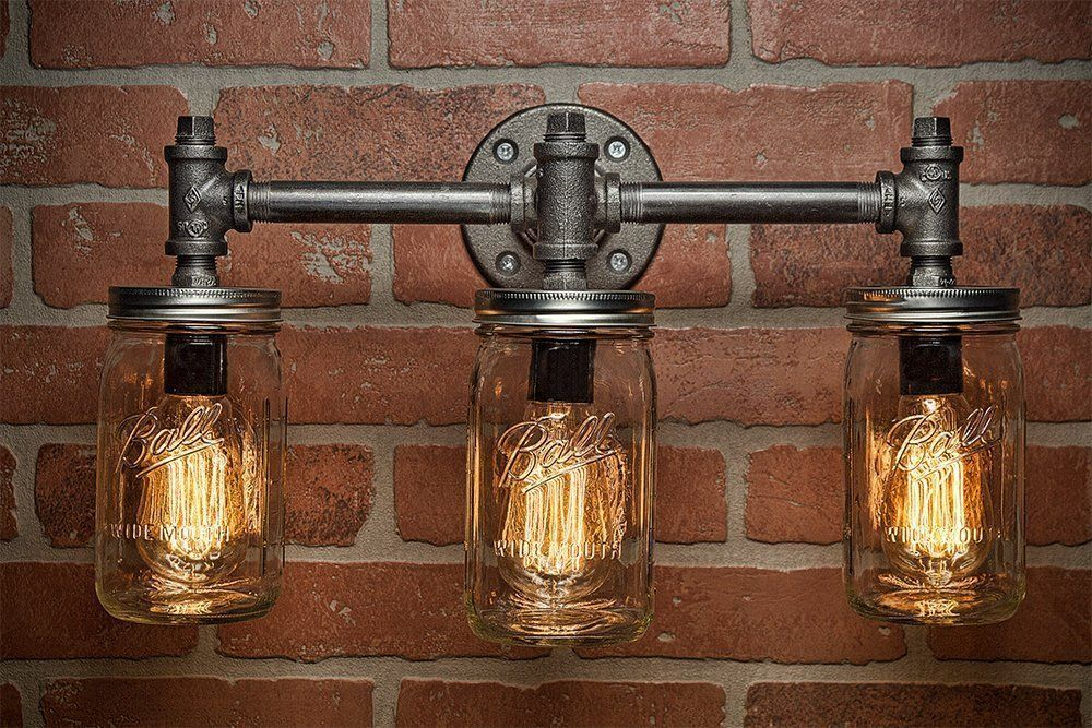 Industrial Lighting  Lighting  Mason Jar Light  Steampunk Lighting  Bar Light  Industrial