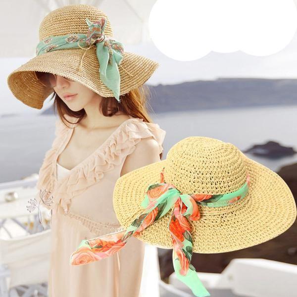 91f424e4d36ae Sun Hats Women Elegant Lovely Sunshade Big Wide Brim Vacation Beach Hat  Trendy Korean Casual Sunscreen Daily Womens Colorful New